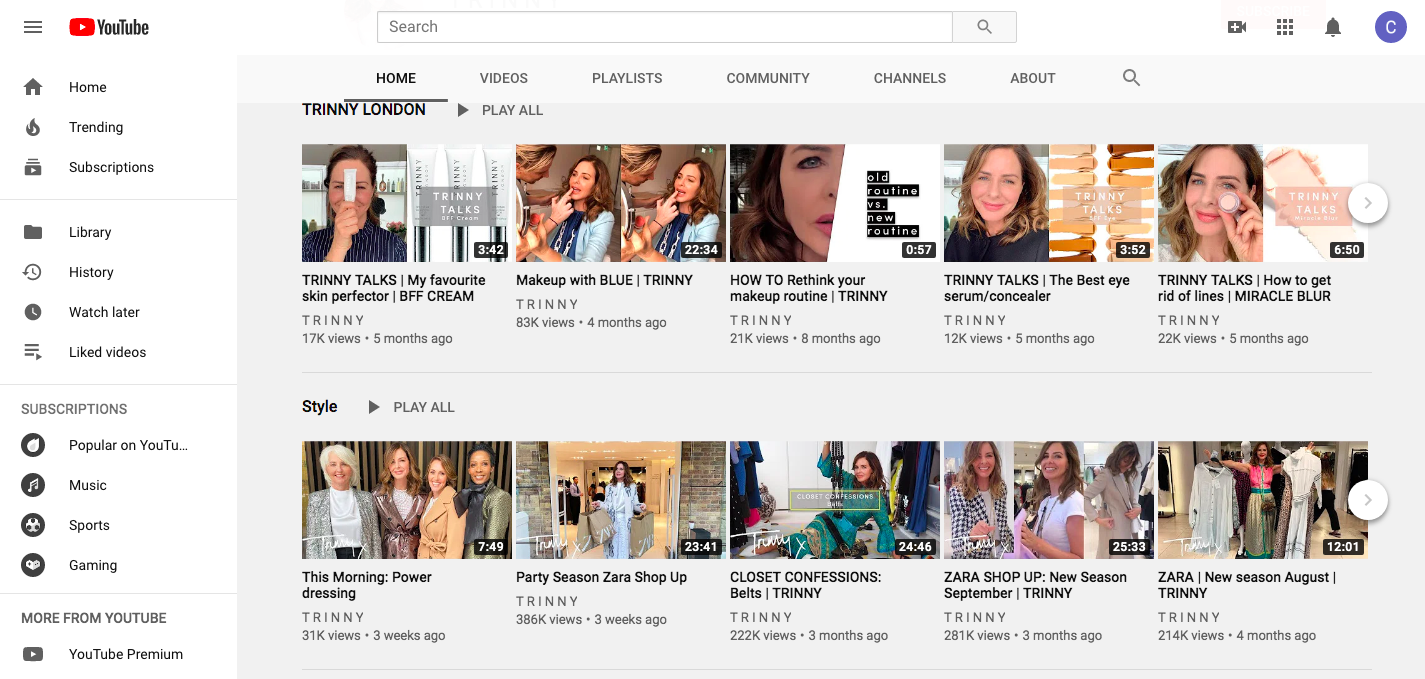 Screen shot of Trinny Youtube Channel